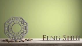 Houten uitstekende lijstplank met bedelaarsgua en 3d brieven die woord feng shui met geelgroene achtergrond met exemplaarruimte m royalty-vrije stock foto
