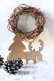 Houten uitstekende rustieke Kerstmisdecoratie Binnenlands ecodecor stock afbeelding