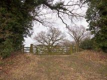 houten van het de boomland van de poortomheining privé het gebiedslandbouwbedrijf Royalty-vrije Stock Foto's