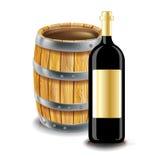 Houten vat en fles wijn Stock Foto's