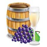Houten vat; met glas en druiven Royalty-vrije Stock Foto