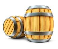 Houten vat voor wijn en bier geïsoleerdee opslag royalty-vrije illustratie