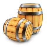 Houten vat voor wijn en bier geïsoleerdek opslag vector illustratie