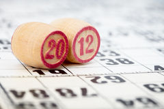 Houten vaten lotto met 2010 Stock Foto's