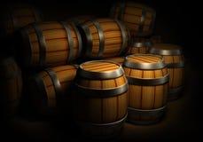 Houten vaten voor wijn en bieropslag vector illustratie