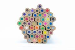 Houten veelvoudige de bodemmening van kleurenpotloden Stock Afbeelding