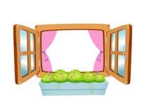 Houten venster royalty-vrije illustratie