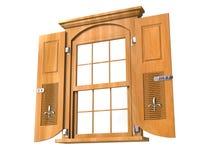 Houten venster met deuren - lage hoek Stock Afbeelding