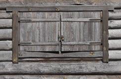 Houten venster met slot royalty-vrije stock afbeelding