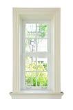 Houten venster wit frame Stock Fotografie