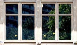 Houten vensterarchitectuur met groene bezinning in het glas stock foto's