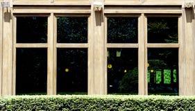 Houten vensterarchitectuur met groene struikinstallatie royalty-vrije stock afbeelding