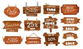 Houten verkoopsticker De seizoenverkoop ondertekent, de houten markering van de raadsaanbieding en uitstekende beste het beeldver royalty-vrije illustratie