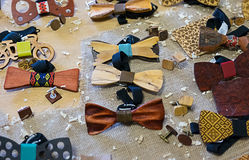 Houten vlinderdas Royalty-vrije Stock Foto's