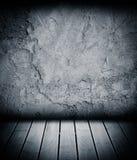 Houten vloer en concrete muur geweven achtergrond Royalty-vrije Stock Afbeelding