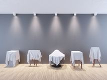 Houten vloer en lichte achtergrond, kunstconcept voor een tentoonstellings openingsdag of een presentatieceremonie 3D Illustratie Stock Afbeelding