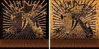 Houten vloer en muziekachtergrond Stock Afbeeldingen
