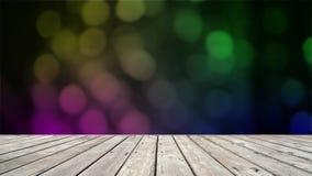 Houten vloer met abstracte blauwe lichten bokeh achtergrond stock videobeelden