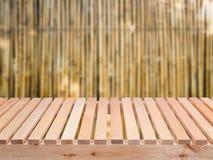 Houten vloer met bamboe stock fotografie