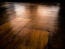 Houten vloer met gedetailleerde textuur Stock Fotografie