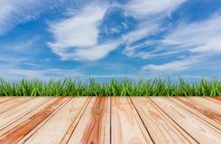 houten vloer met gras en blauwe hemelachtergrond Royalty-vrije Stock Afbeelding