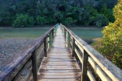 Houten voetbrug Stock Foto