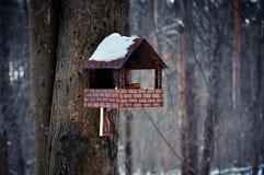 Houten vogelhuis in bijlage aan een boom in de winterbos Stock Foto's