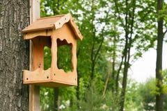 Houten vogelhuis op een boom in het bos en het park Stock Afbeeldingen