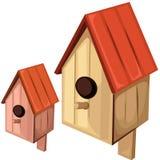 Houten vogelhuis op een witte achtergrond Vector Royalty-vrije Stock Foto