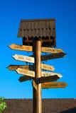 Houten voorzie met steden op blauw van wegwijzers Stock Foto