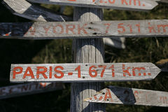 Houten voorzie op grond van wegwijzers die welke manier tonen Parijs en Nieuwe Yourk is Royalty-vrije Stock Foto