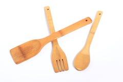 Houten vork, lepel, spatel Stock Afbeeldingen