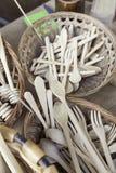 Houten vorken en lepels Stock Afbeelding