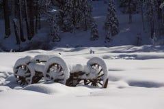 Houten wagen die met sneeuw wordt behandeld Stock Afbeelding