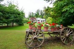 Houten wagen met bloemen stock afbeelding