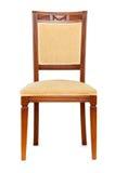 Houten wapenstoel die op het wit wordt geïsoleerd_ Royalty-vrije Stock Afbeeldingen