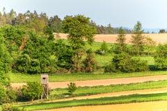 Houten watchtower in het Tsjechische landschap Platteland in de Tsjechische Republiek De wilde spel jacht Royalty-vrije Stock Fotografie