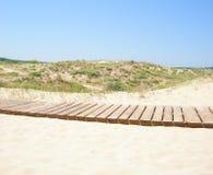 Houten weg aan het strand Royalty-vrije Stock Foto