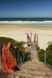 Houten weg aan het strand Royalty-vrije Stock Foto's