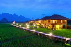 Houten weg en groen padieveld bij nacht in Vang Vieng, Laos stock afbeelding