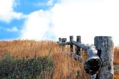 Houten weg, manier, spoor van planken in gebiedspark, de achtergrond van het perspectiefbeeld Weergeven vanaf Klippenbovenkant Ke stock afbeeldingen