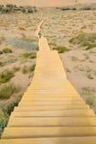 Houten weg in woestijn Stock Afbeeldingen