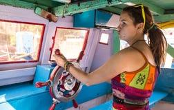 Houten wiel op het schip Royalty-vrije Stock Foto's