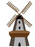 Houten Windmolen die met deur en vensters wordt geïsoleerdr Stock Afbeelding
