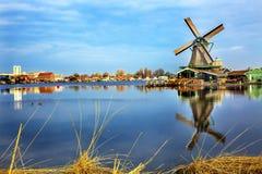 Houten Windmolenrivier Zaan Zaanse Schans VHolland Nederland Royalty-vrije Stock Foto