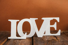 houten woordliefde Stock Fotografie