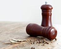 Houten zout en peperschudbekers. royalty-vrije stock foto