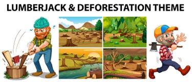 Houthakker en ontbossingsscènes vector illustratie