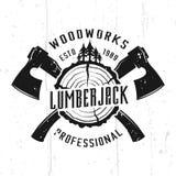 Houthakker en woodworks zwart-wit vectorembleem royalty-vrije illustratie