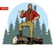 Houthakker met bijl en verslagen logboek, bosachtergrond Vector illustratie vector illustratie